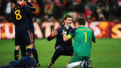 Javi Martinez and Iker Casillas embrace at the end of the 2010 FIFA World Cup South Africa™ Final.