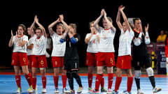 BUENOS AIRES, ARGENTINA - OCTOBER 17:  The team of Spain celebrate victory over Bolivia after the Women's Futsal 3rd Place match between Bolivia and Spain during the Buenos Aires Youth Olympics 2018 at Tecnopolis on October 17, 2018 in Buenos Aires, Argentina.  (Photo by Martin Rose - FIFA/FIFA via Getty Images)