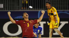 PAPEETE, FRENCH POLYNESIA - SEPTEMBER 27:  Antonio of Spain celebrates victory in the FIFA Beach Soccer World Cup Tahiti 2013 Semi Final match between Spain and Brazil at the Tahua To'ata Stadium on September 27, 2013 in Papeete, French Polynesia.  (Photo by Mike Hewitt - FIFA/FIFA via Getty Images)