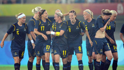China opened up against Sweden in Tianjin on Wednesday, 6 August. Swedish women players celebrated after scoring an equaliser.