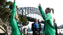 SYDNEY, AUSTRALIA - JUNE 26: Alanna Kennedy and Steph Catley of the Matildas describe how they reacted to the announcement during a media opportunity following the successful bid for Australia & New Zealand to host the 2023 FIFA Women's World Cup, at Hickson Road Reserve, The Rocks on June 26, 2020 in Sydney, Australia. (Photo by Mark Metcalfe/Getty Images)