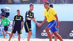 ESPINHO, PORTUGAL - JULY 14:  Rodrigo of Brazil celebrates his team's first goal during the FIFA Beach Soccer World Cup Portugal 2015 Group C match between Brazil and Spain at Espinho Stadium on July 14, 2015 in Espinho, Portugal.  (Photo by Alex Grimm - FIFA/FIFA via Getty Images)