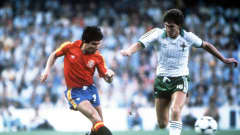 1982 World Cup Finals, Valencia, Spain, 25th June, 1982, Spain 0 v Northern Ireland 1, Spain's Juan Juanito beats Northern Ireland's Norman Whiteside (Photo by Bob Thomas/Getty Images)