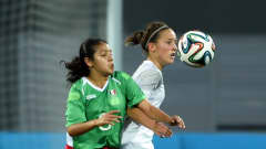 NANJING, CHINA - AUGUST 26: Alexia Delgado of Mexico battles with Lenka Kopcova of Slovakia during the 2014 FIFA Girls Summer Youth Olympic Football Tournament 3rd Place Playoff match between Mexico and Slovakia at Wutaishan Stadium on August 26, 2014 in Nanjing, China.  (Photo by Stanley Chou - FIFA/FIFA via Getty Images)