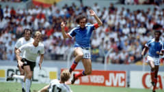 1986 World Cup Semi Final, Guadalajara, Mexico, 25th June, 1986, West Germany 2 v France 0, French captain Michel Platini is challenged by West Germany's Ditmar Jakobs (Photo by Bob Thomas/Getty Images)