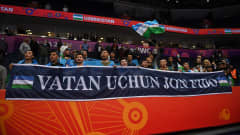 VILNIUS, LITHUANIA - SEPTEMBER 24: Uzbekistan fans during the FIFA Futsal World Cup 2021 Round of 16 match between Uzbekistan and Iran at Vilnius Arena on September 24, 2021 in Vilnius, Lithuania. (Photo by Alex Caparros - FIFA/FIFA via Getty Images)