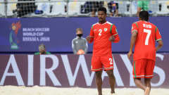 MOSCOW, RUSSIA - AUGUST 24: Abdullah Al Sauti of Oman celebrates scoring a goal during the FIFA Beach Soccer World Cup 2021 group D match between Oman and Senegal at Luzhniki Beach Soccer Stadium on August 24, 2021 in Moscow, Russia. (Photo by Octavio Passos - FIFA/FIFA via Getty Images)