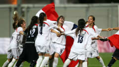 SINGAPORE - AUGUST 24: Chile players celebrate winning the gold medal match between Chile and Equatorial Guinea in the Girls Youth Olympic Football Tournament at the Jalan Besar Stadium on August 24, 2010 in Singapore, Singapore. (Photo by Julian Finney - FIFA/FIFA via Getty Images)