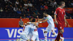 VILNIUS, LITHUANIA - SEPTEMBER 14: Farhad Fakhim of IR Iran celebrates with teammates after scoring their team's second goal during the FIFA Futsal World Cup 2021 group F match between Serbia and IR Iran at Vilnius Arena on September 14, 2021 in Vilnius, Lithuania. (Photo by Alex Caparros - FIFA/FIFA via Getty Images)