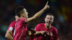 AUCKLAND, NEW ZEALAND - JUNE 20:  Stanisa Mandic of Serbia celebrates his goal during the FIFA U-20 World Cup Final match between Brazil and Serbia at North Harbour Stadium on June 20, 2015 in Auckland, New Zealand.  (Photo by Jamie McDonald - FIFA/FIFA via Getty Images)