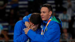 BUENOS AIRES, ARGENTINA - OCTOBER 18:  Goalkeeper Mateus #2 hugs goalkeeper Francoar #1 of Brazil after their 4-1 win over Russia in the Men's Futsal Final match between Brazil and Russia during the Buenos Aires Youth Olympics 2018 at Tecn—polis on October 18, 2018 in Buenos Aires, Argentina.  (Photo by Kevin C. Cox - FIFA/FIFA via Getty Images)