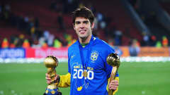 JOHANNESBURG, SOUTH AFRICA - JUNE 28: Kaka of Brazil poses with the trophy and the adidas Golden Ball awarded for the outstanding player of the tournament at the end of the FIFA Confederations Cup Final between USA and Brazil at the Ellis Park Stadium on June 28, 2009 in Johannesburg, South Africa. (Photo by Laurence Griffiths/Getty Images)