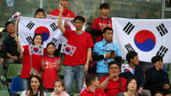 BIELSKO-BIALA, POLAND - JUNE 08: Fans of Korea Republic show their support during the 2019 FIFA U-20 World Cup Quarter Final match between Korea Republic and Senegal at Bielsko-Biala Stadium on June 08, 2019 in Bielsko-Biala, Poland. (Photo by Alex Livesey - FIFA/FIFA via Getty Images)