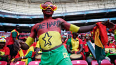 A fan of Ghana is celebrating prior to the FIFA U-20 World Cup 3rd Place playoff match between Ghana and Iraq at Ali Sami Yen Arena on July 13, 2013 in Istanbul, Turkey.  (Photo by Joern Pollex - FIFA/FIFA via Getty Images)
