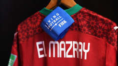 VILNIUS, LITHUANIA - SEPTEMBER 26: Detailed view of the shirt of Youssef El Mazray of Morocco inside of the changing rooms ahead of the FIFA Futsal World Cup 2021 Quarter Final match between Morocco and Brazil at Vilnius Arena on September 26, 2021 in Vilnius, Lithuania. (Photo by Alex Caparros - FIFA/FIFA via Getty Images)