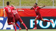 HAMILTON, NEW ZEALAND - MAY 31:  Gelson Martins #18 of Portugal celebrates after scoring the first goal of the game during the FIFA U-20 World Cup New Zealand 2015 Group C match between Portugal and Colombia held at Waikato Stadium on May 31, 2015 in Hamilton, New Zealand.  (Photo by Dean Mouhtaropoulos - FIFA/FIFA via Getty Images)