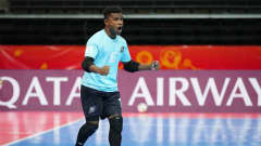 KAUNAS, LITHUANIA - SEPTEMBER 16: Paul Laki of Solomon Islands warms up prior to the FIFA Futsal World Cup 2021 group C match between Solomon Islands and Portugal at Kaunas Arena on September 16, 2021 in Kaunas, Lithuania. (Photo by Angel Martinez - FIFA/FIFA via Getty Images)