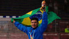 BUENOS AIRES, ARGENTINA - OCTOBER 18:  Goalkeeper Francoar #1 of Brazil celebrates their 4-1 win over Russia in the Men's Futsal Final match between Brazil and Russia during the Buenos Aires Youth Olympics 2018 at Tecn—polis on October 18, 2018 in Buenos Aires, Argentina.  (Photo by Kevin C. Cox - FIFA/FIFA via Getty Images)