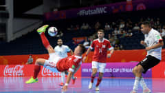 VILNIUS, LITHUANIA - SEPTEMBER 12: Ivan Chishkala of Football Union of Russia (RFU) shoots at goal during the FIFA Futsal World Cup 2021 group B match between Football Union Of Russia and Egypt at Vilnius Arena on September 12, 2021 in Vilnius, Lithuania.  (Photo by Alexander Scheuber - FIFA/FIFA via Getty Images)