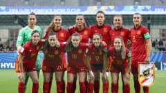 VANNES, FRANCE - AUGUST 24:  Players of Spain pose for a team photo prior to the FIFA U-20 Women's World Cup France 2018 Final match between Spain and Japan at Stade de la Rabine on August 24, 2018 in Vannes, France.  (Photo by Alex Grimm - FIFA/FIFA via Getty Images)