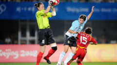 Wenxia HAN (CHN) catching the ball during the China : Argentina match at the Qinghuangdao Olympic Stadium on August 12, 2008.