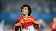 Duan HAN (CHN) during the 2008 Beijing Olympic Games first round Group E women's football match against Argentina at the Qinghuangdao Olympic Stadium on August 12, 2008.