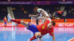 VILNIUS, LITHUANIA - SEPTEMBER 27: Miguel Mellado of Spain is challenged by Pany of Portugal during the FIFA Futsal World Cup 2021 Quarter Final match between Spain and Portugal at Vilnius Arena on September 27, 2021 in Vilnius, Lithuania. (Photo by Alex Caparros - FIFA/FIFA via Getty Images)