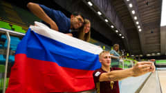 MEDELLIN, COLOMBIA - SEPTEMBER 10:  Sergey Abramov of Russia takes a selfie with spectators after the FIFA Futsal World Cup Group B match between Thailand and Russia at Coliseo Ivan de Bedout stadium on September 10, 2016 in Medellin, Colombia.  (Photo by Alex Caparros - FIFA/FIFA via Getty Images)
