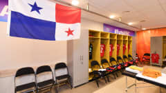 KLAIPEDA, LITHUANIA - SEPTEMBER 19: A general view inside the Panama dressing room prior to the FIFA Futsal World Cup 2021 group D match between Brazil and Panama at Klaipeda Arena on September 19, 2021 in Klaipeda, Lithuania. (Photo by Chris Ricco - FIFA/FIFA via Getty Images)