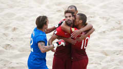 ESPINHO, PORTUGAL - JULY 18:  Jordan of Portugal celebrates scoring a goal with team mates during the FIFA Beach Soccer World Cup semi final match between Portugal and Russia held at Espinho Stadium on July 18, 2015 in Espinho, Portugal.  (Photo by Dean Mouhtaropoulos - FIFA/FIFA via Getty Images)