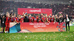 DOHA, QATAR - DECEMBER 21: The Liverpool team celebrate after winning the FIFA Club World Cup 2019 final match between Liverpool FC and CR Flamengo at Khalifa International Stadium on December 21, 2019 in Doha, Qatar. (Photo by Lukas Schulze - FIFA/FIFA via Getty Images)