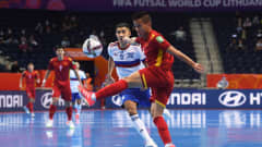 VILNIUS, LITHUANIA - SEPTEMBER 22: Duc Hoa Pham of Vietnam battles for possession with Yanar Asadov of Football Union of Russia during the FIFA Futsal World Cup 2021 Round of 16 match between Football Union of Russia and Vietnam at Vilnius Arena on September 22, 2021 in Vilnius, Lithuania. (Photo by Alex Caparros - FIFA/FIFA via Getty Images)
