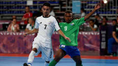 BUENOS AIRES, ARGENTINA - OCTOBER 09: Franster Rukumana #9 of Solomon Islands challenges Dilan Baez of Costa Rica in the Men's Group B match between Solomon Islands and Costa Rica during the Buenos Aires Youth Olympics 2018 at Tecnopolis on October 9, 2018 in Buenos Aires, Argentina.  (Photo by Martin Rose - FIFA/FIFA via Getty Images)