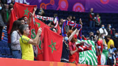 VILNIUS, LITHUANIA - SEPTEMBER 26: Fans of Morocco look on ahead of the FIFA Futsal World Cup 2021 Quarter Final match between Morocco and Brazil at Vilnius Arena on September 26, 2021 in Vilnius, Lithuania. (Photo by Alex Caparros - FIFA/FIFA via Getty Images)