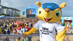 Fuleco, the official mascot of the 2014 FIFA World Cup, enjoys the Fan Fest in Rio de Janeiro.