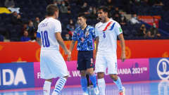 VILNIUS, LITHUANIA - SEPTEMBER 20: Julio Mareco of Paraguay celebrates with Juan Salas after scoring their team's first goal during the FIFA Futsal World Cup 2021 group E match between Japan and Paraguay at Vilnius Arena on September 20, 2021 in Vilnius, Lithuania. (Photo by Alex Caparros - FIFA/FIFA via Getty Images)