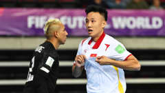 KLAIPEDA, LITHUANIA - SEPTEMBER 16: Minh Tri Nguyen of Vietnam celebrates after scoring their team's first goal during the FIFA Futsal World Cup 2021 group D match between Panama and Vietnam at Klaipeda Arena on September 16, 2021 in Klaipeda, Lithuania. (Photo by Tullio Puglia - FIFA/FIFA via Getty Images)
