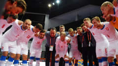 KLAIPEDA, LITHUANIA - SEPTEMBER 13: The Czech Republic team form a huddle prior to the FIFA Futsal World Cup 2021 group D match between Panama and Czech Republic at Klaipeda Arena on September 13, 2021 in Klaipeda, Lithuania. (Photo by Chris Ricco - FIFA/FIFA via Getty Images)