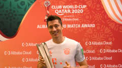 DOHA, QATAR - FEBRUARY 08: Robert Lewandowski of FC Bayern Muenchen poses after being named Player of the Match during the Semi-Final match between Al Ahly SC and FC Bayern Muenchen at the Ahmad Bin Ali Stadium on February 08, 2021 in Doha, Qatar. (Photo by David Ramos - FIFA/FIFA via Getty Images)