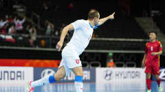 KAUNAS, LITHUANIA - SEPTEMBER 19: Lukas Resetar of The Czech Republic celebrates after scoring their team's first goal during the FIFA Futsal World Cup 2021 group D match between Czech Republic and Vietnam at Kaunas Arena on September 19, 2021 in Kaunas, Lithuania. (Photo by Angel Martinez - FIFA/FIFA via Getty Images)