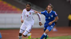 SAN JOSE, COSTA RICA - APRIL 04:  Gabriela Garcia of Venuzuela battles with Federica Cavicchia of Italy during the FIFA U-17 World Cup 3rd Place Playoff game between Venezuela and Italy at Estadio Nacional on April 4, 2014 in San Jose, Costa Rica.  (Photo by Jamie McDonald - FIFA/FIFA via Getty Images)