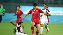 NANJING, CHINA - AUGUST 26: Wan Wenting of China battles with Nathalie Pasquel of Venezuela during the 2014 FIFA Girls Summer Youth Olympic Football Tournament Gold/Silver Medal match between Venezuela and China at Wutaishan Stadium at Wutaishan Stadium on August 26, 2014 in Nanjing, China.  (Photo by Stanley Chou - FIFA/FIFA via Getty Images)