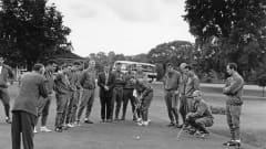 Members of the England World Cup squad playing golf during a break in training at Roehampton, London, the day before their World Cup final match against West Germany, 29th July 1966. Left to right: Gordon Banks, unknown photographer, trainers Harold Shepherdson (1918 - 1995) and Les Cocker (1924 - 1979), Peter Bonetti, Geoff Hurst, Bobby Moore, unknown, Jimmy Armfield, Roger Hunt, Ron Springett, Jimmy Greaves (putting), Norman Hunter, Ron Flowers, Terry Paine, Bobby Charlton and Gerry Byrne. (Photo by Central Press/Hulton Archive/Getty Images)