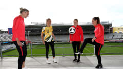 AUCKLAND, NEW ZEALAND - JUNE 26: (L-R) Hannah Wilkinson of New Zealand, Tameka Yallop of Australia, Paige Satchell of New Zealand and Annalie Longo of New Zealand pose after the announcement of the 2023 FIFA Women's World Cup hosts at Eden Park on June 26, 2020 in Auckland, New Zealand. (Photo by Phil Walter/Getty Images)