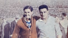 Uruguay striker Hector Castro (right) is congratulated by Pelegrin Anselmo after their FIFA World Cup Final victory over Argentina at the Centenario Stadium in Montevideo, July 30th 1930. Castro, who scored the 4th goal, had replaced Anselmo in the Uruguay team because of injury. Uruguay won 4-1. (Photo by Bob Thomas/Popperfoto/Getty Images).
