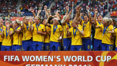 SINSHEIM, GERMANY - JULY 16:  The team of Sweden celebrates after winning the FIFA Women's 3rd Place Playoff match between Sweden and France at Rhein-Neckar Arena on July 16, 2011 in Sinsheim, Germany.  (Photo by Joern Pollex/Getty Images)