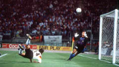 1990 World Cup Final, Rome, Italy, 8th July, 1990, West Germany 1 v Argentina 0, West Germany's Thomas Berthold aims his flying header over the bar past Argentine goalkeeper Sergio Goycochea (Photo by Bob Thomas/Getty Images)