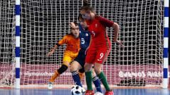 BUENOS AIRES, ARGENTINA - OCTOBER 17: Fifo of Portugal challenges Rikako Yamakawa of Japan in the Women's Futsal Final match between Portugal and Japan during the Buenos Aires Youth Olympics 2018 at Tecnopolis on October 17, 2018 in Buenos Aires, Argentina.  (Photo by Martin Rose - FIFA/FIFA via Getty Images)
