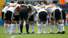 BIELEFELD, GERMANY - AUGUST 01:  The team of Germany gets together before the FIFA U20 Women's World Cup Final match between Germany and Nigeria at the FIFA U-20 Women's World Cup stadium on August 1, 2010 in Bielefeld, Germany.  (Photo by Friedemann Vogel - FIFA/FIFA via Getty Images)