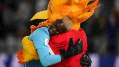 Senegal s goalkeeper Al Seyni Ndiaye hugs the mascot after the Beach Soccer World Cup group stage match between Portugal and Senegal, in Moscow, Russia. Alexey Filippov / Sputnik Russia Beach Soccer World Cup